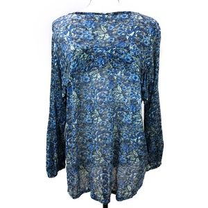 Lucky Brand Tops - Lucky Brand Blue Floral Ruffle Top ¾ Sleeves Sz L